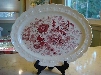 Vintage Taylor Smith Taylor PLATTER Center Bouquet Red Floral Transferware