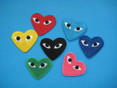 2 Comme Des Garcons Sew Iron On Patch Badge CDG PLAY Japan Love Heart All Colour