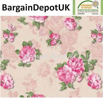 Fryetts Pineapple Pink Cotton WIPE CLEAN PVC TABLECLOTH