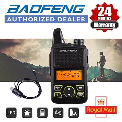 Baofeng BF-T1 UHF Mini Walkie Talkie Long Range FM Two Way Radio + USB Cable UK
