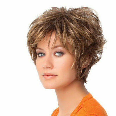 Eg_ Fashion Short Curly Brown Women Hair Wig Dyed Synthetic Cosplay Hairpiece Ac