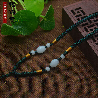 1Pcs Natural JADE beads Green Circle string cord rope for pendant Necklace A203