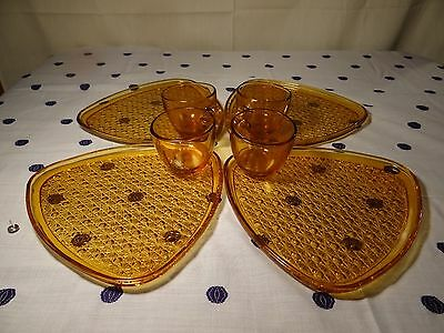 Indiana Glass Golden Amber Antique Set Daisy & Button 4 plate 4 cup Vintage!!!