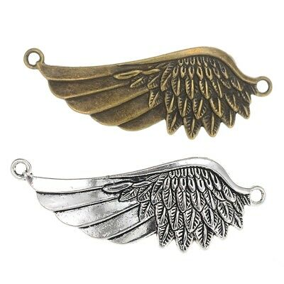 2Pcs Wings Charms Connector 59*22mm Jewelry Making Pendant Fit Bracelet Vintage