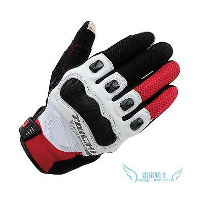 Mens RS Taichi RST412  Perforated leather Motorcycle Mesh Gloves Black Red White