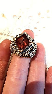 Antique Genuine Flat Cut Diamond Pink Tone Real Garnet 14k Vintage size 9.5 Ring