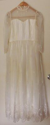Vintage Wedding Gown Dress Antique White Ivory HAND MADE Voile Rosettes No Size
