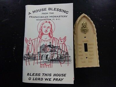 Vintage Sacred Heart of Jesus Bless This House light switch cover