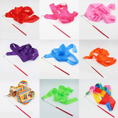 4M Rhythmic Art Gymnastic Gym Dance Ribbon Ballet Streamer Twirling Rod Stick 1X