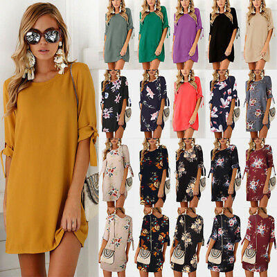 UK Women Plus Size Long T-shirt Ladies Casual Party Short Mini Dress Blouse Tops