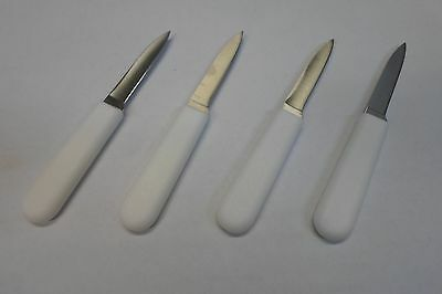set of 4 crab picking knives stainless steel white plastic food