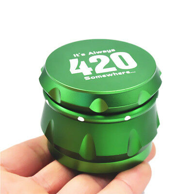 "1 X Crusher Drum 2.5"" 4 Layers Tobacco Herb Grinder Spice Miller-Green"