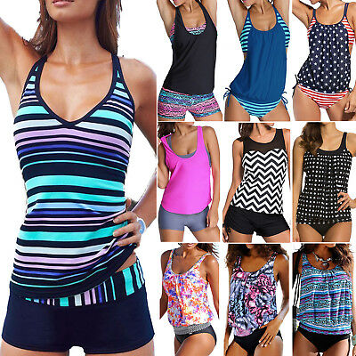 Womens Sporty Tankini Push-up Swimsuit Bathing Suit Swimwear Beachwear Bathers