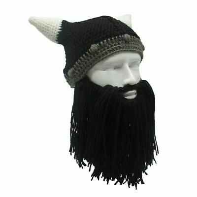 67fe5132148 Barbarian Viking Beanie Beard Horn Hat Handmade Knit Winter Warm Cool Funny  Part