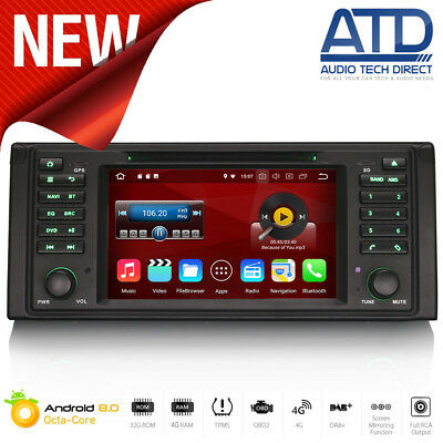 "7 "" Android 8.0 Oreo Satnav BT Radio DAB GPS Wifi DVD Audio per BMW Serie 5 E39"