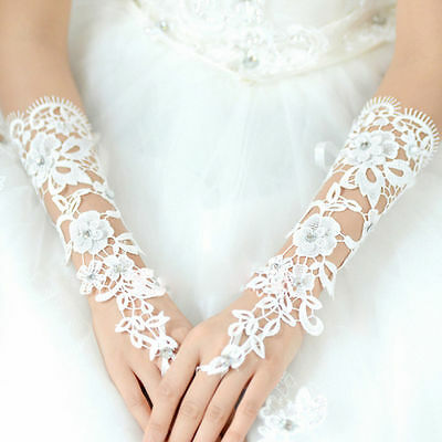 Women White Lace Long Fingerless Gloves Wedding Prom Accessory Bridal Party AU