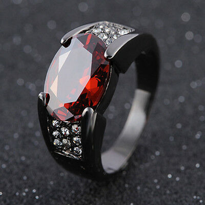 EG_ Man Fashion Cool Big Red Rhinestone Inlaid Finger Ring Jewelry Size 8-12 Lit