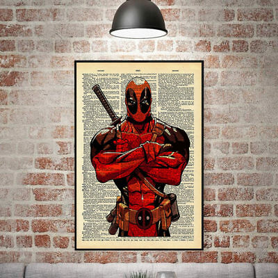Newspaper Style Deadpool Canvas Print Painting Wall Art Pictures Home Decor AU