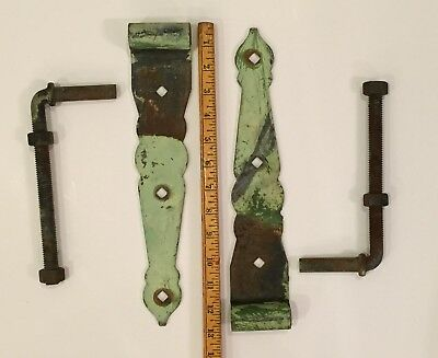 "Vintage 2 pc Large Rustic Barn Door Gate 13"" Strap Pintle Pin Hinge Pins antique"