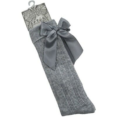 Girls Grey Knee Length Socks With Large Bow Spanish Style by Soft Touch