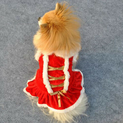 EG_ Small Puppy Pet Red Dress Winter Soft Warm Costume Dog Cat Xmas Clothes Surp