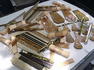 Large Lot Of Asst Amber Colored Glass Chandelier Parts Wheel Etched