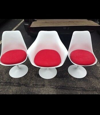3 Saarinen Knoll Tulip Chairs Arm Chair Authentic Mid Century Modern White Red
