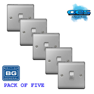 BG Nexus NBS12 Brushed Steel/Satin Chrome Single Light Switch 1 Gang  (5 Pack)