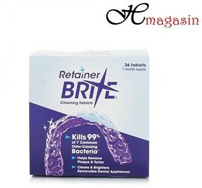 Retainer Brite Tablets 36 Mouthguards Dentures & Invisalign Cleaner Sealed Box