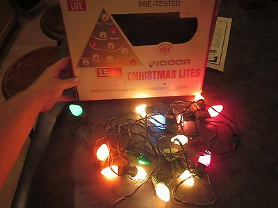 Vintage Christmas Lights by World Wide 15 Light String Box Clip Style USA Boxed