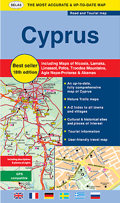 ROAD & TOURIST MAP OF CYPRUS – 18th Revised Edition  - Best Seller!