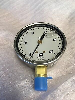 Hydraulic Liquid Filled Pressure Test Gauge 0 100 Psi Lower Mount New 2-1/2""