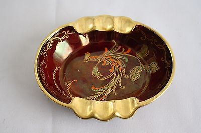 Vintage Crown Devon Fieldings Gold Maroon Bird Painted Made in England Ashtray F