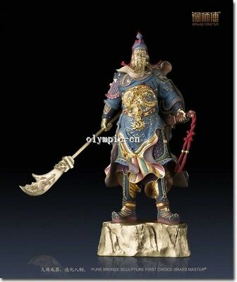 32''Pure Brass handcraft colored drawing carved Dragion Folk buddha Guan Gong