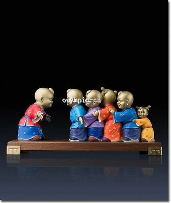 20''Pure Brass handcraft colored drawing lifelike boys child play game statue