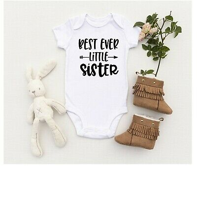 Best Ever Little Sister Baby Vest All In One Bodysuit Romper Suit