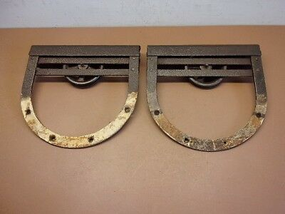 "TWO OLD BARN DOOR ROLLERS 12"" Rolling Brackets Horse Shoe Shaped Exc. Aged Cond"