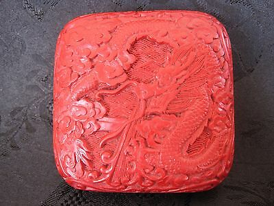 Vintage Chinese Carved Red Cinnabar Dragon Design Trinket Box