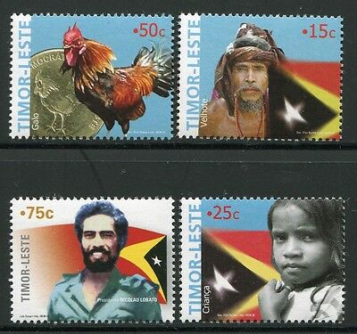Timor 2005 Nationalsymbole Hahn Münze Flaggen Flags Coin 377-80 MNH