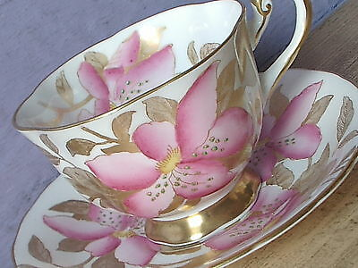 Antique 1940's Royal Chelsea hand painted pink gold white china tea cup teacup