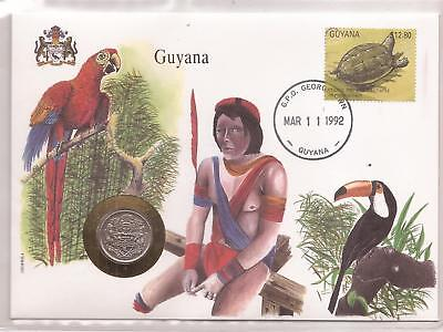 Guyana  -  Cover With A  Coin