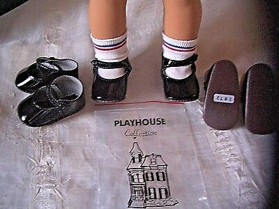 "Lot 3 Pair Black Patent Leather Mary Jane Doll Shoes fits 18"" American Girl NEW"