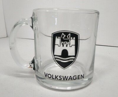 Volkswagen VW Coffee Mug - Clear Glass Cup - Made in USA - EUC
