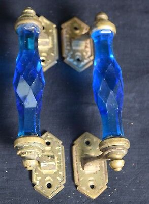 Pair of Vintage Highly Decorative Victorian Cut Glass Blue Door Handle. i24-132