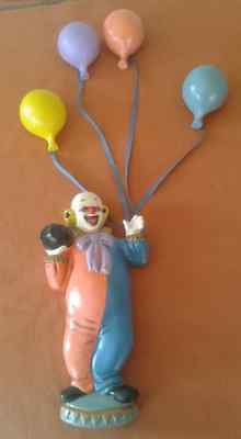 Vintage Plaster Clown with Streaming Plaster Balloons Wall Hanging 5 Pieces