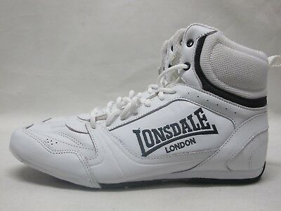 Mens Lonsdale Bout 00 White Boxing Full Lace Up Leather Boots UK 9 EU 43