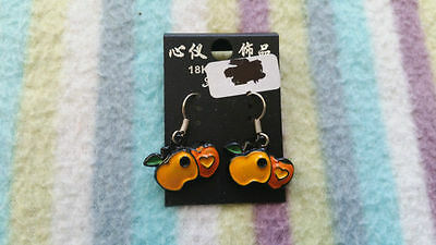 New Cute Funky Unique Yellow and Orange Apple and Hearts Black Outlined Earrings