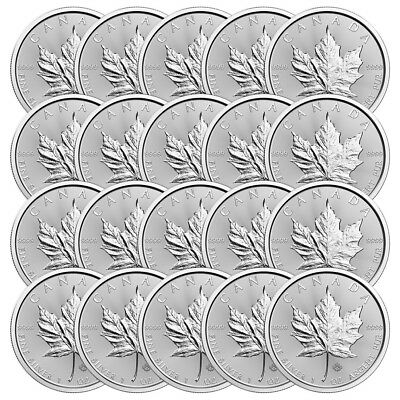 Lot of 25 x 1 oz 2018 Canadian Maple Leaf Silver Coin