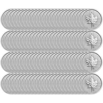 Lot of 100 x 1 oz 2018 Canadian Maple Leaf Silver Coin