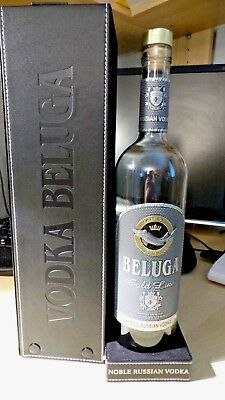 Collectnoble Russian Beluga Vodka Empty Bottle Metal Emblem Leather